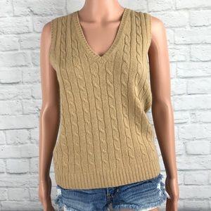 J Crew Cable Knit V Neck Sweater Vest S Cashmere